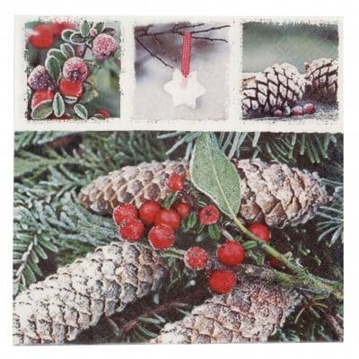 Салфетка HOME FASHION 33x33см трипластова Red Frozen Berries -1 брой