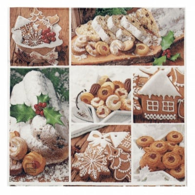 Салфетка HOME FASHION 33x33см трипластова Stollen and Cookies-1 брой
