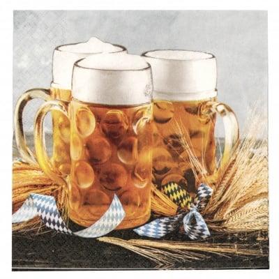 Салфетка HOME FASHION 33x33см трипластова Beer Mug -1 брой