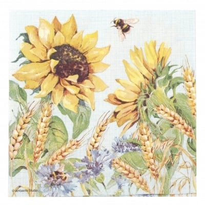 Салфетка за декупаж Ambiente 33x33 см трипластова Sunflower and Wheath Blue-1 брой