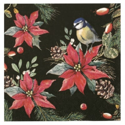 Салфетка за декупаж Ambiente 33x33 см трипластова Bird on Pointsettia black-1 брой