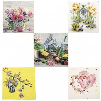 Салфетки за декупаж ti-flair 33x33см трипластови 5 дизайна -5 броя цветя