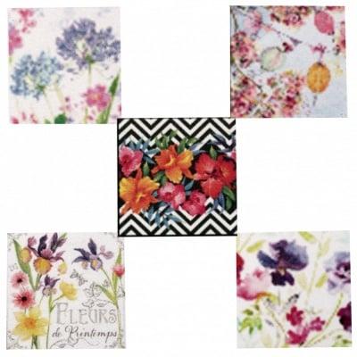 Салфетки за декупаж ti-flair 33x33см трипластови 5 дизайна -5 броя - цветя