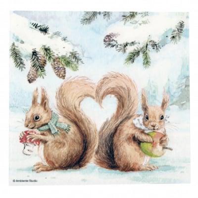 Салфетка за декупаж Ambiente 33x33см трипластова Squirrel Love -1 брой