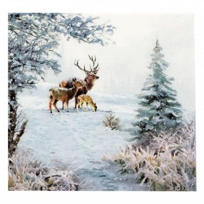 Салфетка за декупаж Ambiente 33x33 см трипластова Deer Family -1 брой