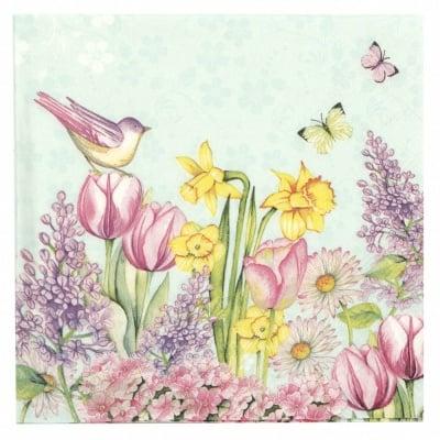 Салфетка за декупаж Ambiente 33x33см трипластова Blooming Garden Turquoise -1 брой