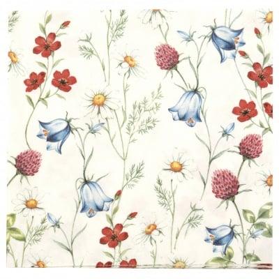 Салфетка за декупаж Ambiente 33x33см трипластова Mixed Wild Flowers White -1 брой