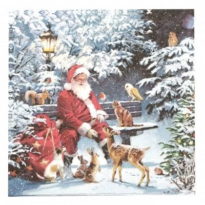 Салфетка за декупаж Ambiente 33x33 см трипластова Santa on Bench