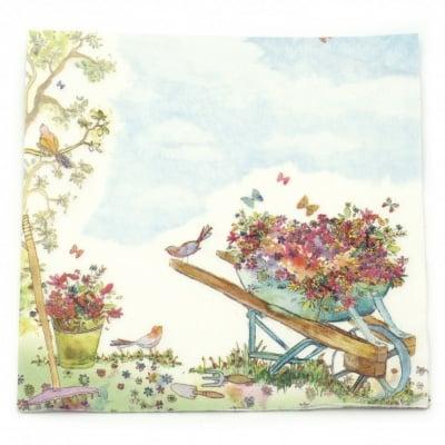 Салфетка ti-flair 33x33 см трипластова Wheelbarrow filled with Flowers -1 брой