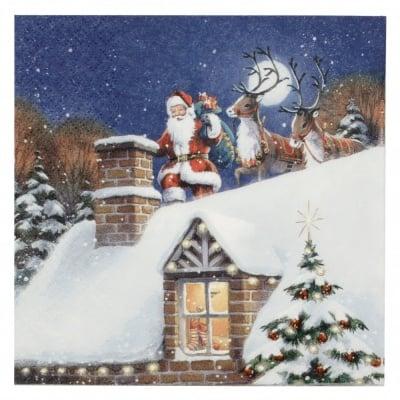 Салфетка ti-flair 33x33см трипластова Santa on Rooftop with Reindeer -1 брой