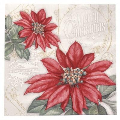Салфетка ti-flair 33x33см трипластова Flores de la Navidad red -1 брой