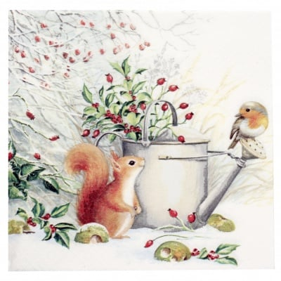Салфетка ti-flair 33x33см трипластова Red Squirrel and Robin -1 брой