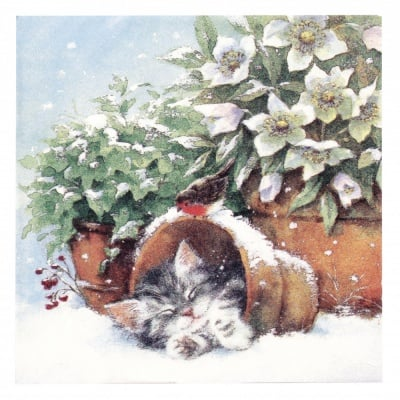Салфетка ti-flair 33x33см трипластова Kitten sleeping in Plant Pot -1 брой