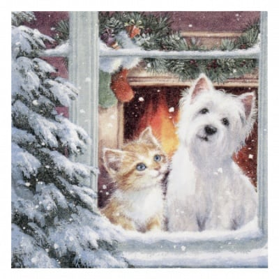 Салфетка ti-flair 33x33см трипластова Westie and Kittin looking out of Window -1 брой