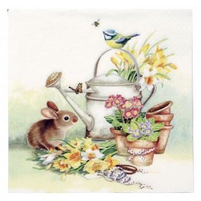 Салфетка ti-flair 33x33см трипластова Bunny with Watering Can -1 брой