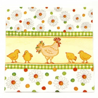 Салфетка ti-flair 33x33см трипластова Chicks and Daisies -1 брой