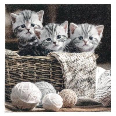 Салфетка ti-flair 33x33см трипластова Striped Kittens -1 брой