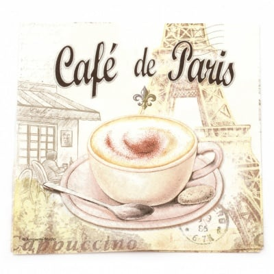 Салфетка за декупаж Ambiente 33x33 см трипластова Cafe de Paris -1 брой