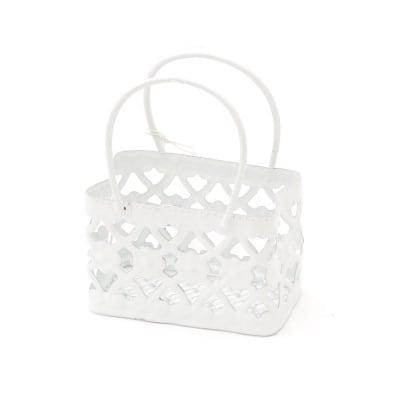 Кошница метална 60x35x80 мм цвят бял чанта