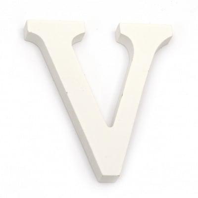 """Буква дърво """"V"""" 110x10.5x1.2 мм -бяла"""