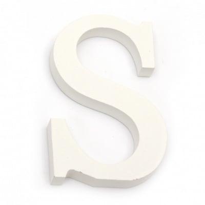 """Буква дърво """"S"""" 110x71x12 мм -бяла"""