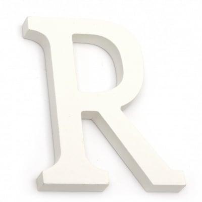 """Буква дърво """"R"""" 110x90x12 мм -бяла"""
