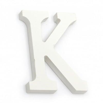 """Буква дърво """"K"""" 110x80x12 мм -бяла"""