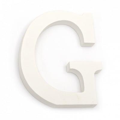 """Буква дърво """"G"""" 110x92x12 мм -бяла"""