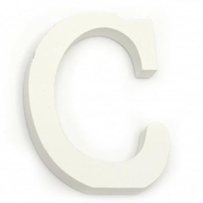 """Буква дърво """"C"""" 110x85x12 мм -бяла"""