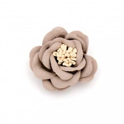 Цвете от велурена хартия 35х23 мм тичинки цвят пепел от рози пастел