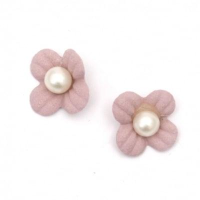 Цвете от велурена хартия с перла 18 мм цвят светло розов пастел -10 броя