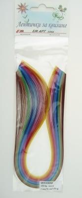 Ленти за квилинг (хартия 130 гр) 2мм/ 35см -10 интензивни цвята - 100бр