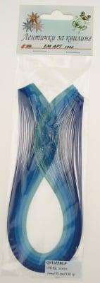 Ленти за квилинг (хартия 130 гр) 2мм/ 35 см - 5 цвята синя гама -100 бр