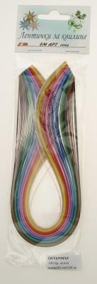 Ленти за квилинг (хартия 130 гр) 4мм/ 35см - 20 цвята МИКС -100бр