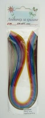 Ленти за квилинг (хартия 130 гр) 4мм/ 35см -10 интензивни цвята - 100бр