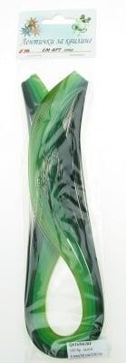 Ленти за квилинг (хартия 130 гр) 6мм/ 50см - 5 цвята зелена гама -100бр