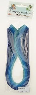 Ленти за квилинг (хартия 130 гр) 6 мм/ 35 см - 5 цвята синя гама -100 бр