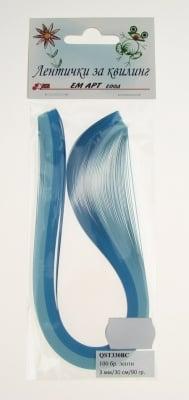 Ленти за квилинг (хартия 90 гр) 3мм/ 30см -2 цвята синя гама - 100бр