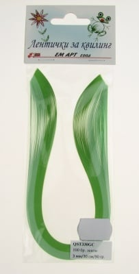 Ленти за квилинг (хартия 90 гр) 3мм/ 30см -2 цвята зелена гама - 100бр