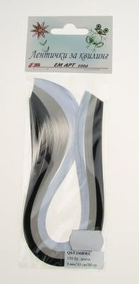 Ленти за квилинг (хартия 90 гр) 3мм/ 30см -3 цвята черно-бяло - 150бр