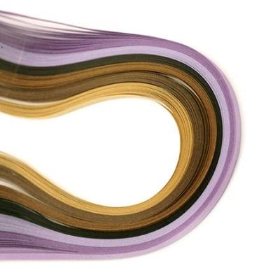 Ленти за квилинг (хартия 80 гр) 3мм/39см -6 цвята лилаво-кафява гама- 120бр