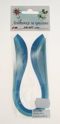 Ленти за квилинг (хартия 90 гр) 6мм/ 30см -2 цвята синя гама - 100бр