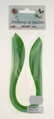 Ленти за квилинг (хартия 90 гр) 6мм/ 30см -2 цвята зелена гама - 100бр