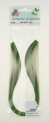 "Ленти за квилинг перлени (хартия 120 гр) 4 мм/ 35 см Fabriano, Mojito "" цвят зелен -50 бр"
