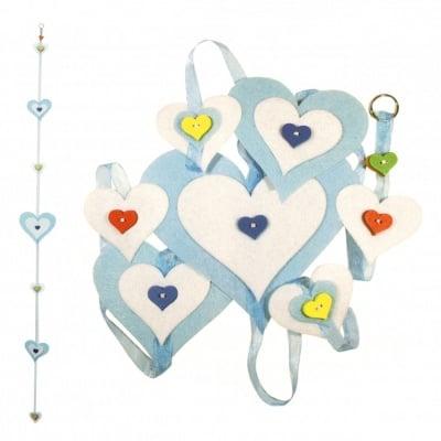 """Комплект """"Направи си сам"""" Висяща украса сърца филц 15x160 см -сини 15x150 см"""