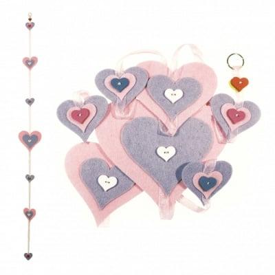 """Комплект """"Направи си сам"""" Висяща украса сърца филц 15x160 см -розови 15x150 см"""