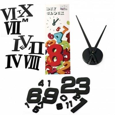 """Комплект """"Направи си сам"""" Часовник за стена - диаметър до 120 см, стрелки 37 и 39 см, арабски цифри 10.7 см - черни"""