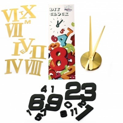 """Комплект """"Направи си сам"""" Часовник за стена - диаметър до 120 см, стрелки 37 и 39 см, римски цифри 10.7 см - злато"""