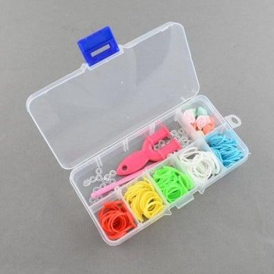 Комплект за плетене на гривни в кутия - инструмент, кука 85 мм, ~20 бр. S-скоби , ластички 18 мм АСОРТЕ и мъниста пластмаса