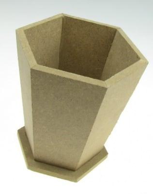 Ваза /кашпа/ моливник MDF за декорация шестоъгълен 12x12 см